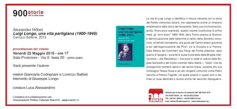"""""""Luigi Longo, una vita partigiana (1900-1945)"""" a Bologna"""